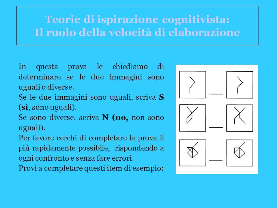 Teorie di ispirazione cognitivista: Il ruolo della velocità di elaborazione In questa prova le chiediamo di determinare se le due immagini sono uguali o diverse.