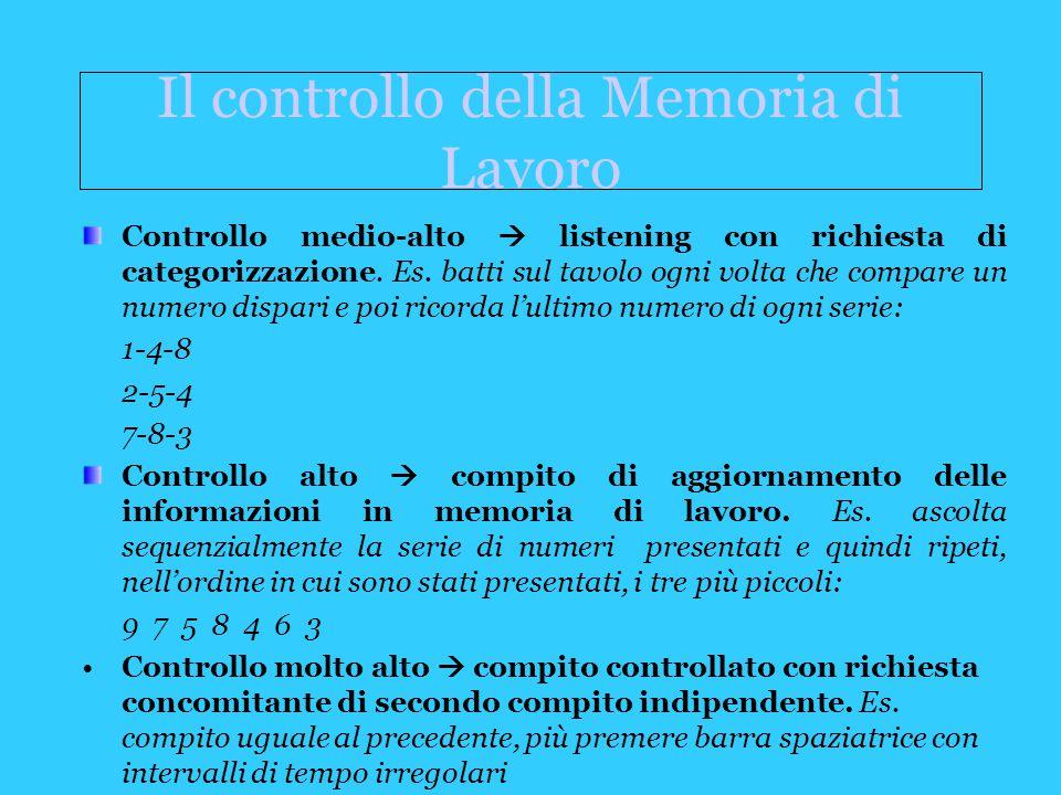 Il controllo della Memoria di Lavoro Controllo medio-alto  listening con richiesta di categorizzazione.