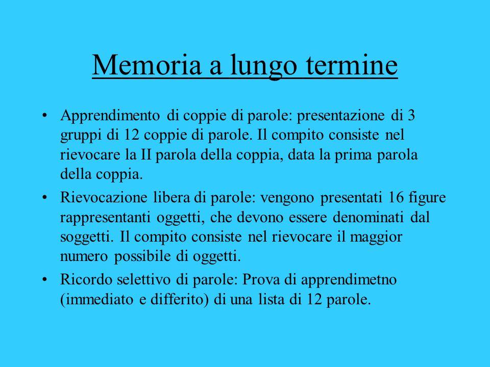 Memoria a lungo termine Apprendimento di coppie di parole: presentazione di 3 gruppi di 12 coppie di parole.