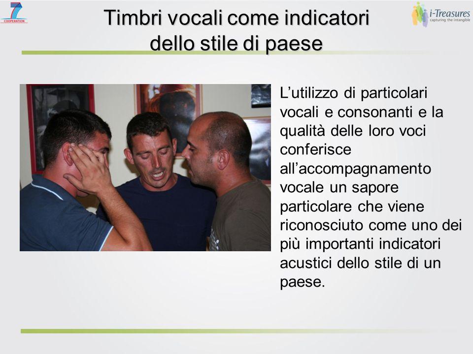 Timbri vocali come indicatori dello stile di paese Una delle caratteristiche più importanti e più comunemente conosciute dello stile di un paese è il timbro delle tre voci di accompagnamento.