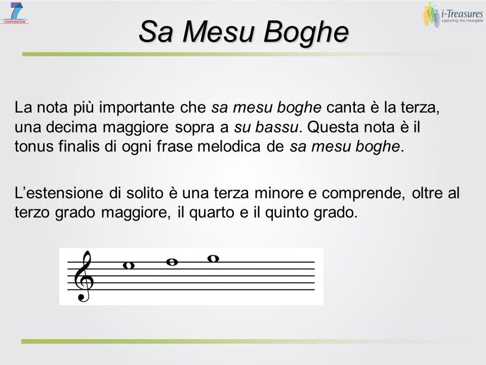 Sa Mesu Boghe La nota più importante che sa mesu boghe canta è la terza, una decima maggiore sopra a su bassu.