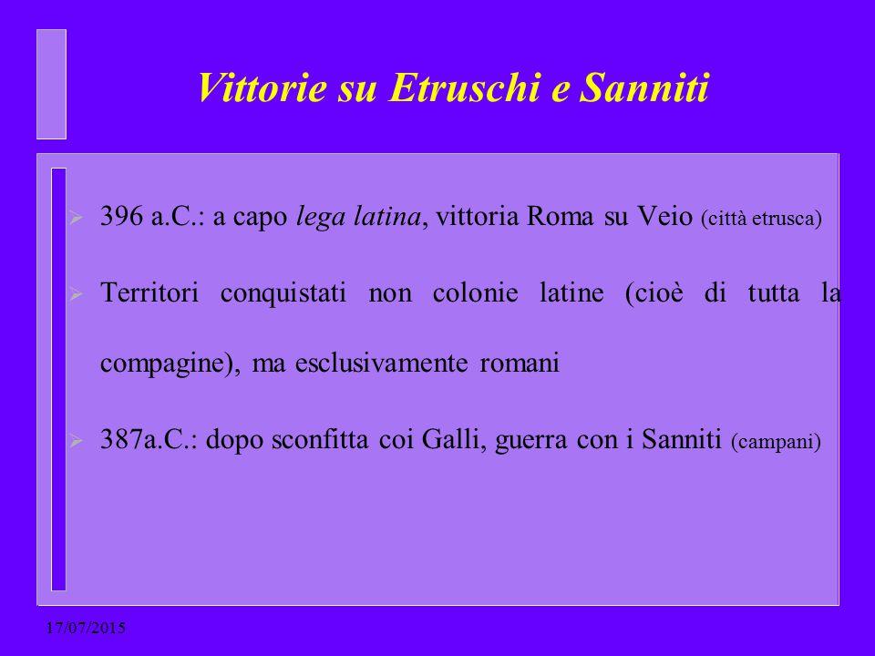  396 a.C.: a capo lega latina, vittoria Roma su Veio (città etrusca)  Territori conquistati non colonie latine (cioè di tutta la compagine), ma escl