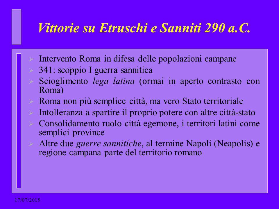 Vittorie su Etruschi e Sanniti 290 a.C.  Intervento Roma in difesa delle popolazioni campane  341: scoppio I guerra sannitica  Scioglimento lega la