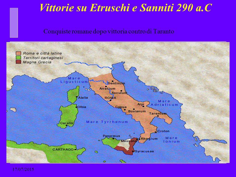 Vittorie su Etruschi e Sanniti 290 a.C 17/07/2015 Conquiste romane dopo vittoria contro di Taranto