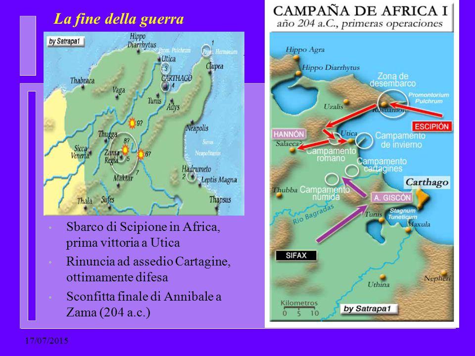 La fine della guerra Sbarco di Scipione in Africa, prima vittoria a Utica Rinuncia ad assedio Cartagine, ottimamente difesa Sconfitta finale di Anniba