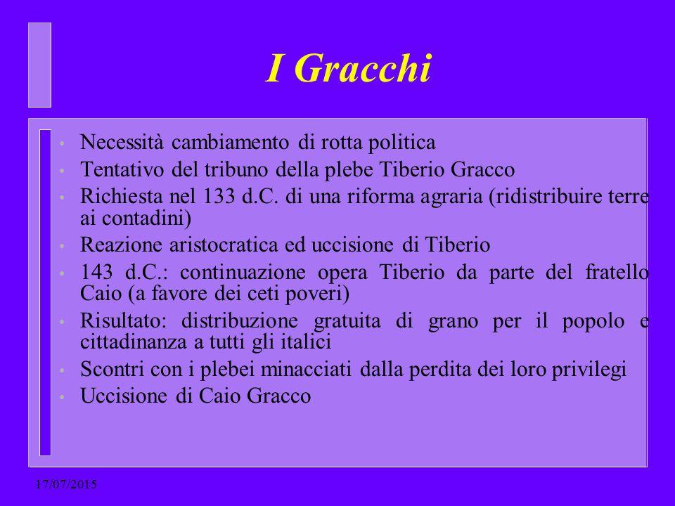I Gracchi Necessità cambiamento di rotta politica Tentativo del tribuno della plebe Tiberio Gracco Richiesta nel 133 d.C. di una riforma agraria (ridi