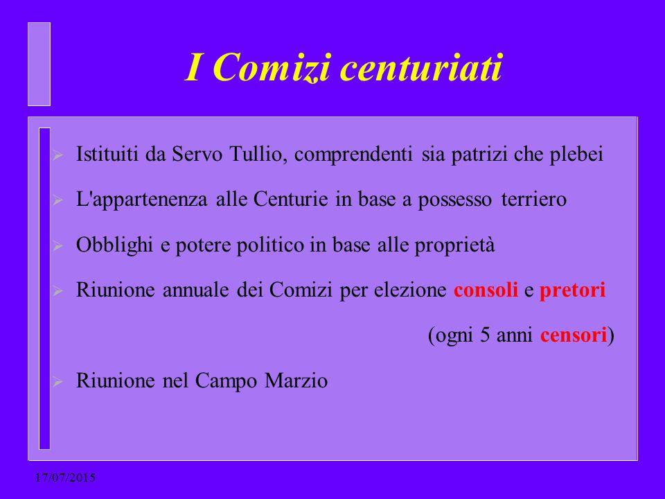 I Comizi centuriati  Istituiti da Servo Tullio, comprendenti sia patrizi che plebei  L'appartenenza alle Centurie in base a possesso terriero  Obbl