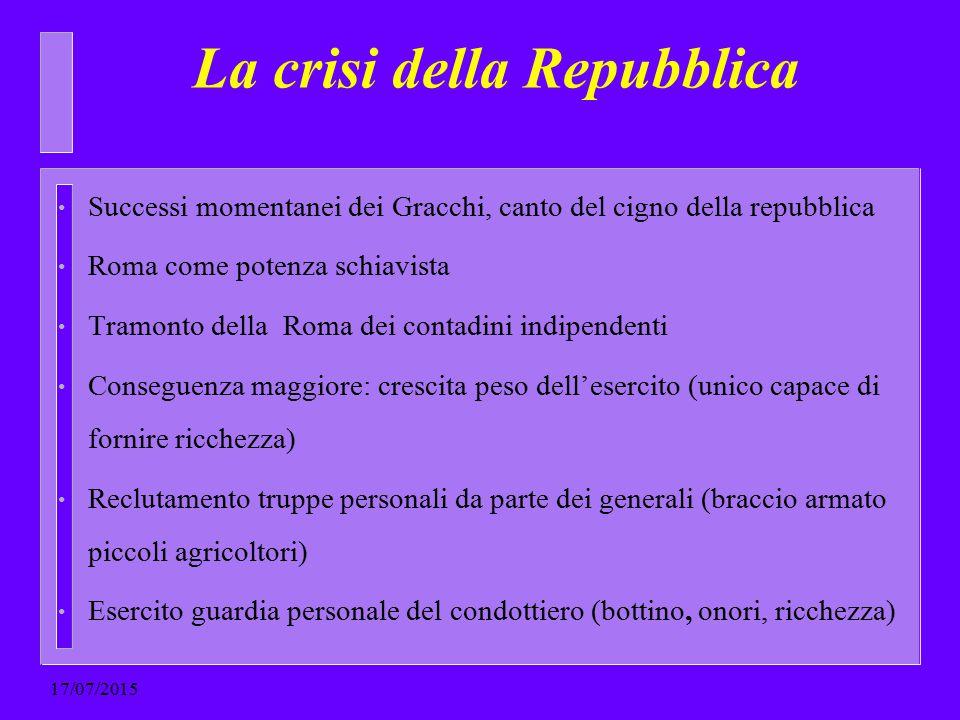 La crisi della Repubblica Successi momentanei dei Gracchi, canto del cigno della repubblica Roma come potenza schiavista Tramonto della Roma dei conta