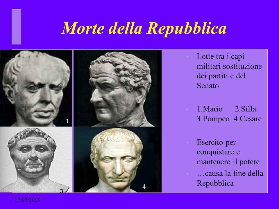 Morte della Repubblica Lotte tra i capi militari sostituzione dei partiti e del Senato 1.Mario 2.Silla 3.Pompeo 4.Cesare Esercito per conquistare e ma