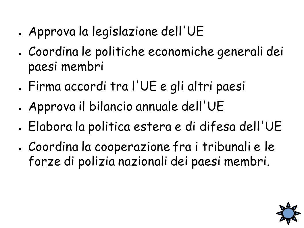 ● Approva la legislazione dell'UE ● Coordina le politiche economiche generali dei paesi membri ● Firma accordi tra l'UE e gli altri paesi ● Approva il