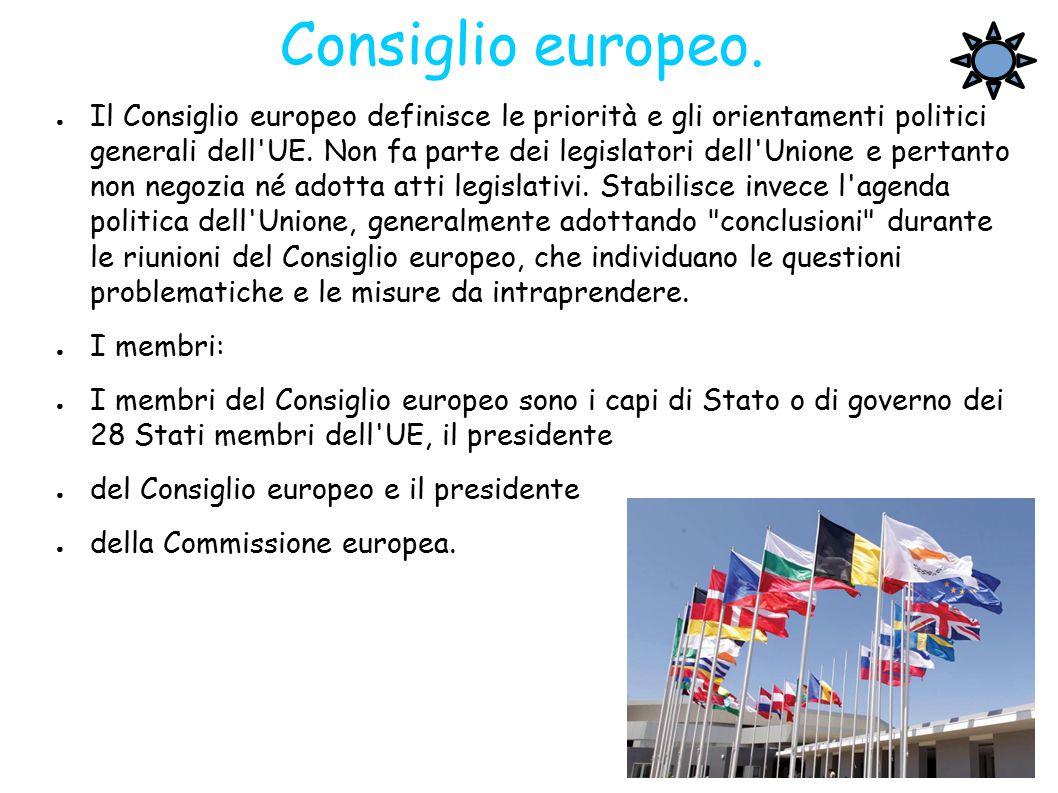 Consiglio europeo. ● Il Consiglio europeo definisce le priorità e gli orientamenti politici generali dell'UE. Non fa parte dei legislatori dell'Unione