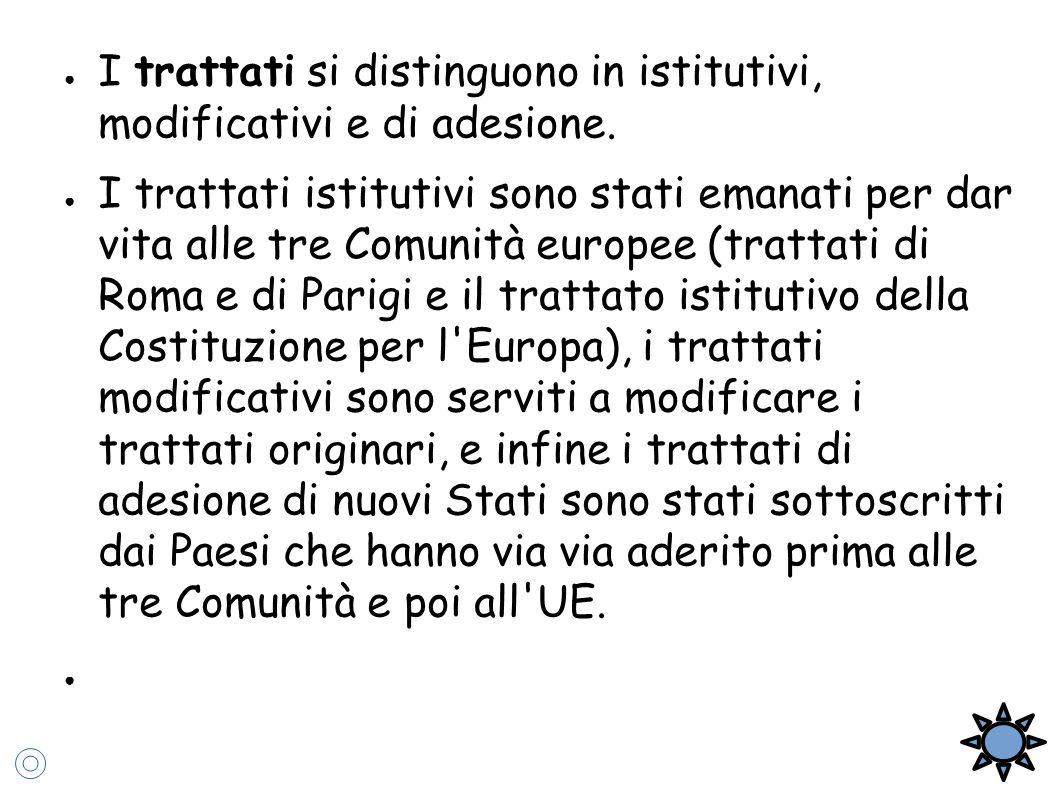 ● I trattati si distinguono in istitutivi, modificativi e di adesione. ● I trattati istitutivi sono stati emanati per dar vita alle tre Comunità europ