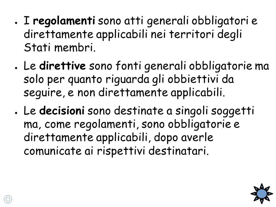 ● I regolamenti sono atti generali obbligatori e direttamente applicabili nei territori degli Stati membri. ● Le direttive sono fonti generali obbliga