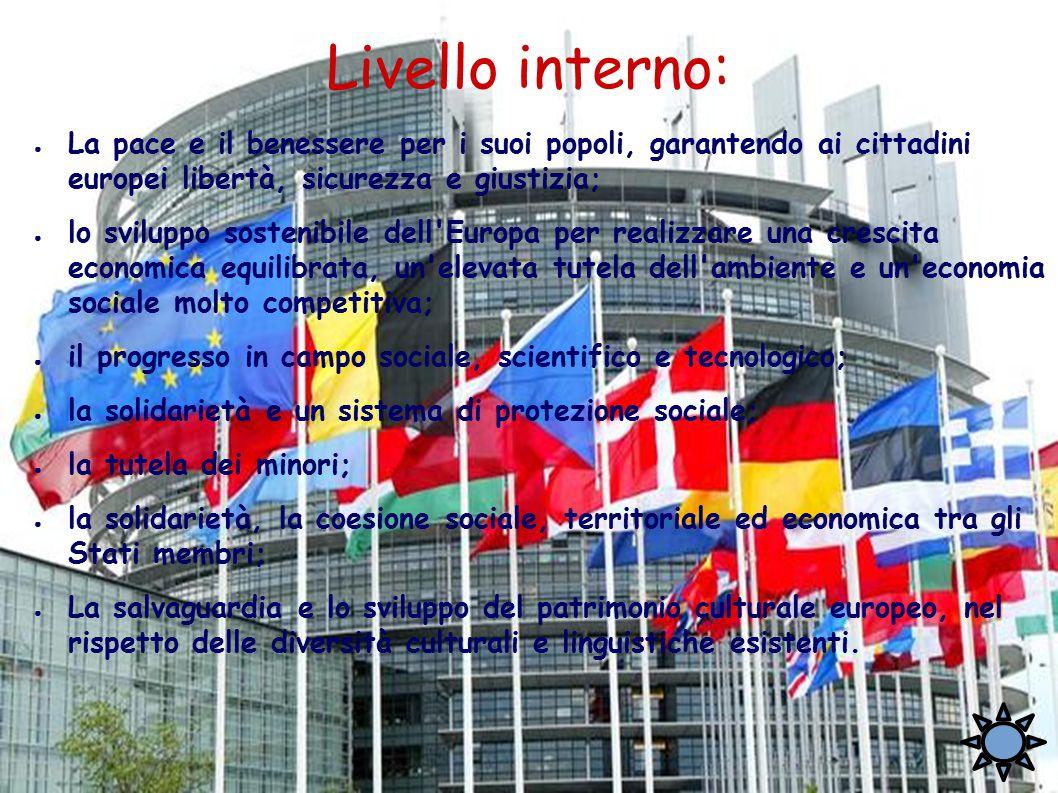 Livello interno: ● La pace e il benessere per i suoi popoli, garantendo ai cittadini europei libertà, sicurezza e giustizia; ● lo sviluppo sostenibile