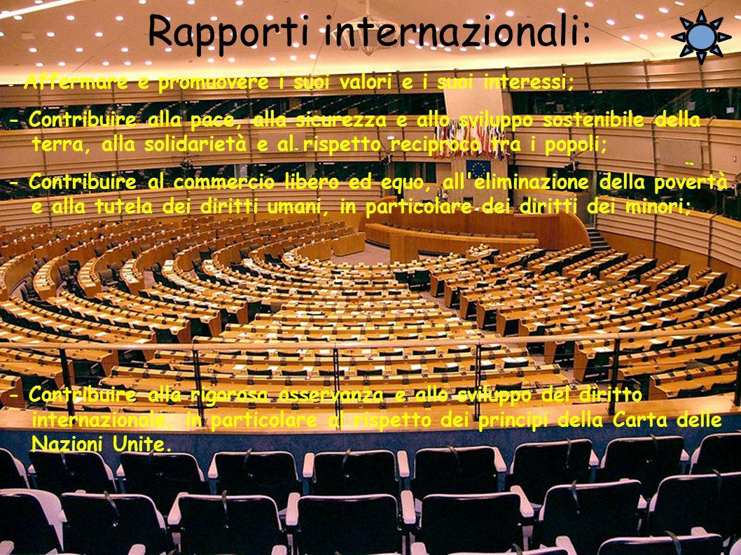 Rapporti internazionali: - Affermare e promuovere i suoi valori e i suoi interessi; - Contribuire alla pace, alla sicurezza e allo sviluppo sostenibil