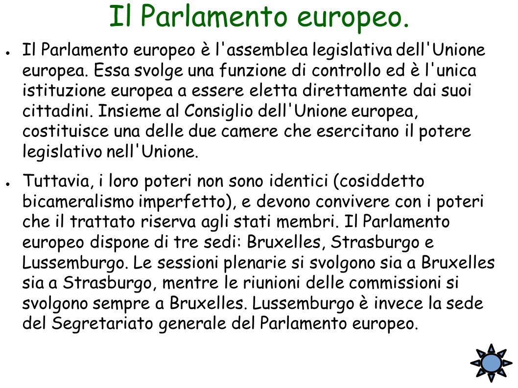 Il Parlamento europeo. ● Il Parlamento europeo è l'assemblea legislativa dell'Unione europea. Essa svolge una funzione di controllo ed è l'unica istit