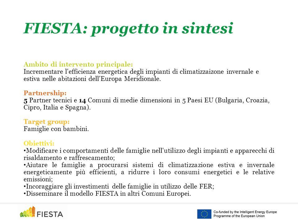 FIESTA: progetto in sintesi Ambito di intervento principale: Incrementare l efficienza energetica degli impianti di climatizzaizone invernale e estiva nelle abitazioni dell Europa Meridionale.
