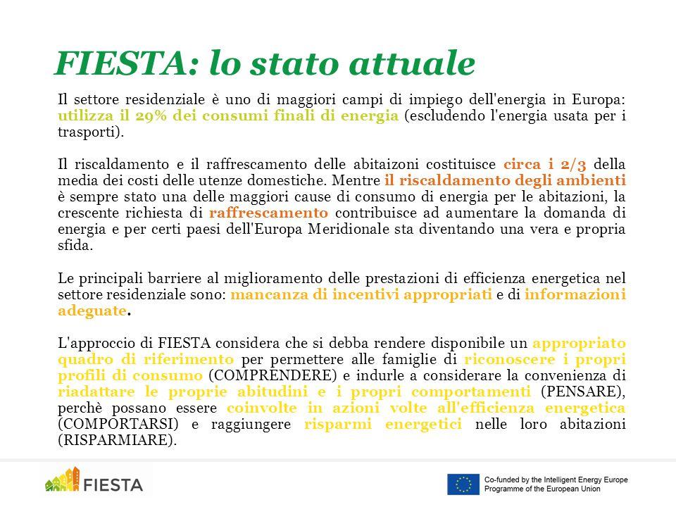 FIESTA: lo stato attuale Il settore residenziale è uno di maggiori campi di impiego dell energia in Europa: utilizza il 29% dei consumi finali di energia (escludendo l energia usata per i trasporti).