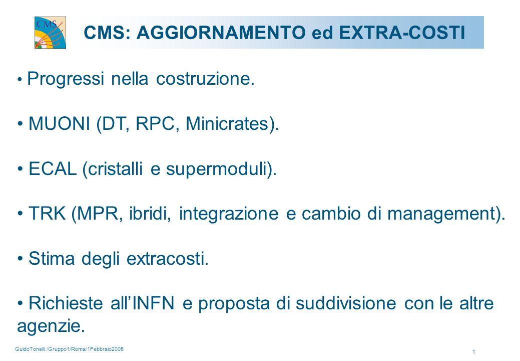 GuidoTonelli /Gruppo1/Roma/1Febbraio2005 1 CMS: AGGIORNAMENTO ed EXTRA-COSTI Progressi nella costruzione.
