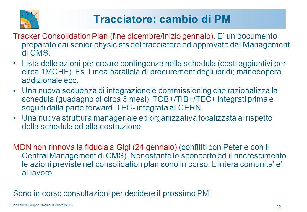 GuidoTonelli /Gruppo1/Roma/1Febbraio2005 20 Tracciatore: cambio di PM Tracker Consolidation Plan (fine dicembre/inizio gennaio).