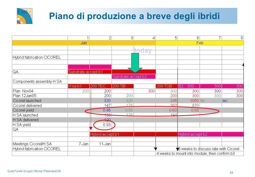 GuidoTonelli /Gruppo1/Roma/1Febbraio2005 24 Piano di produzione a breve degli ibridi today