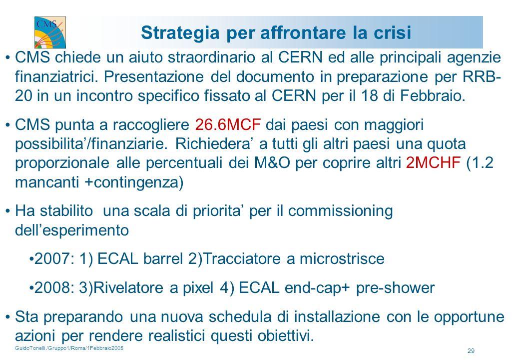 GuidoTonelli /Gruppo1/Roma/1Febbraio2005 29 Strategia per affrontare la crisi CMS chiede un aiuto straordinario al CERN ed alle principali agenzie finanziatrici.