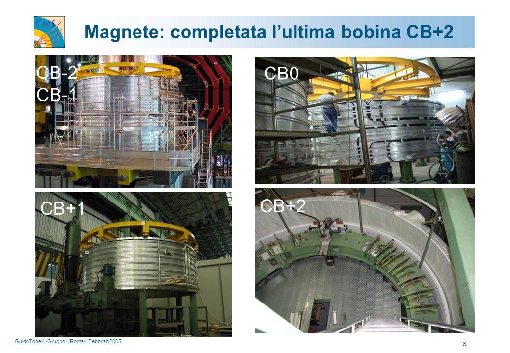 GuidoTonelli /Gruppo1/Roma/1Febbraio2005 6 Magnete: completata l'ultima bobina CB+2 CB-2 CB-1 CB+1 CB0 CB+2
