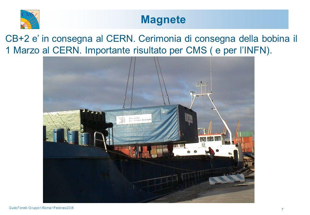 GuidoTonelli /Gruppo1/Roma/1Febbraio2005 7 Magnete CB+2 e' in consegna al CERN.