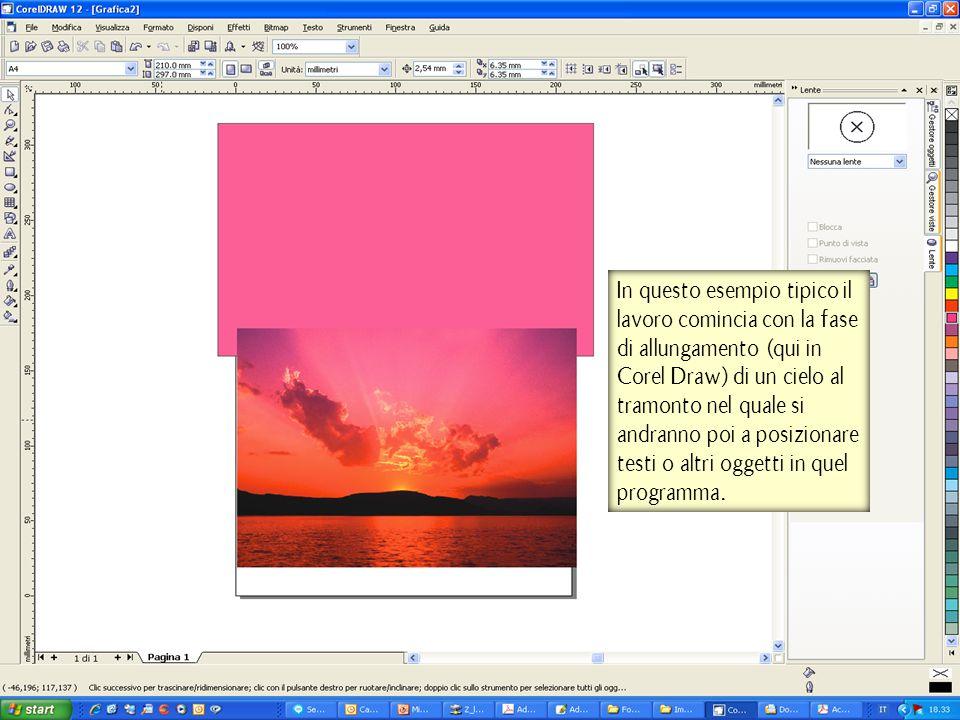 In questo esempio tipico il lavoro comincia con la fase di allungamento (qui in Corel Draw) di un cielo al tramonto nel quale si andranno poi a posizi