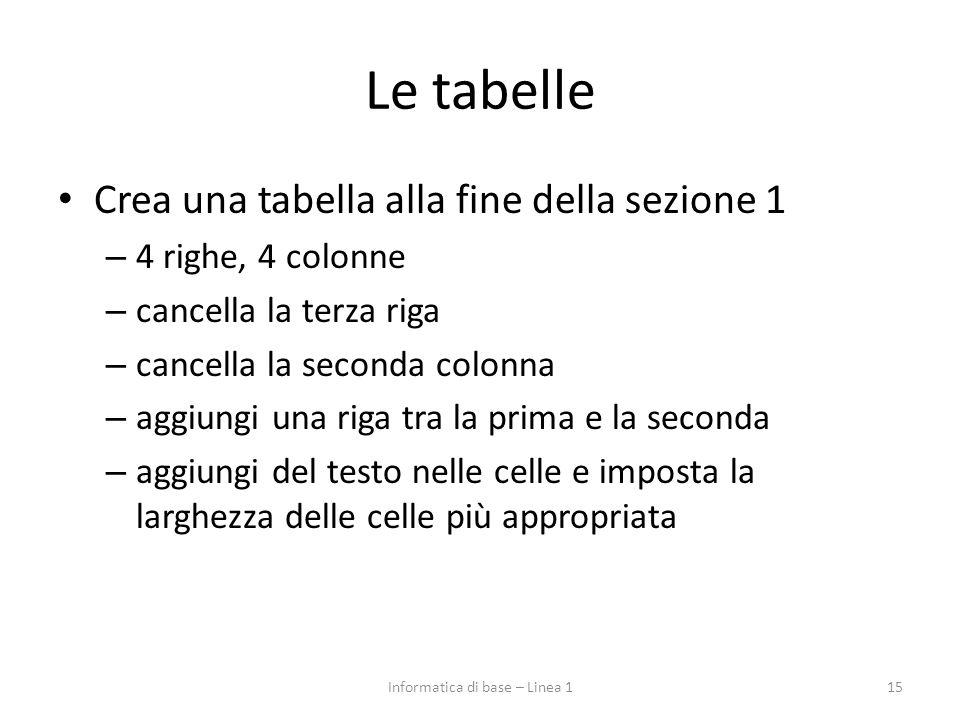 Le tabelle Crea una tabella alla fine della sezione 1 – 4 righe, 4 colonne – cancella la terza riga – cancella la seconda colonna – aggiungi una riga