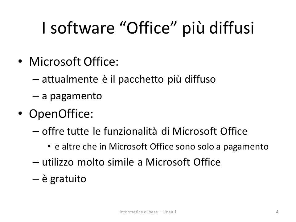 """I software """"Office"""" più diffusi Microsoft Office: – attualmente è il pacchetto più diffuso – a pagamento OpenOffice: – offre tutte le funzionalità di"""