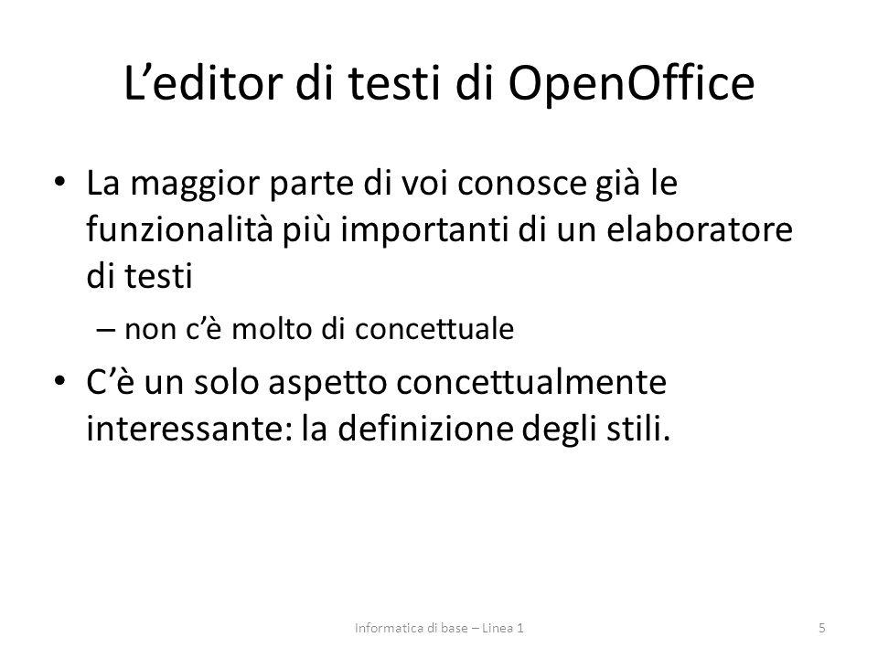 L'editor di testi di OpenOffice La maggior parte di voi conosce già le funzionalità più importanti di un elaboratore di testi – non c'è molto di conce