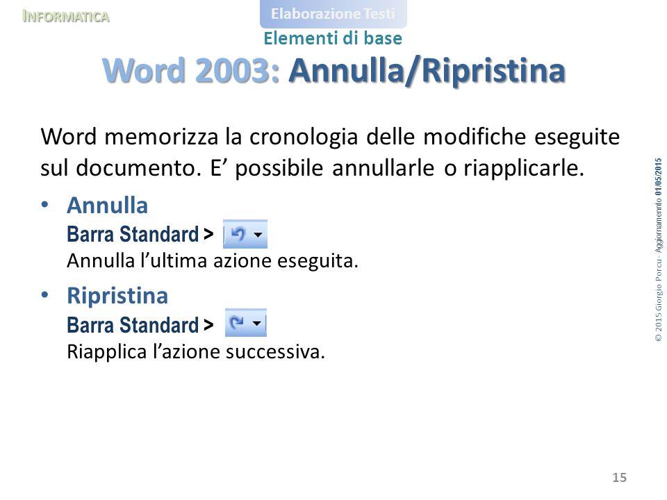 © 2015 Giorgio Porcu - Aggiornamennto 01/05/2015 I NFORMATICA Elaborazione Testi Elementi di base Word memorizza la cronologia delle modifiche eseguite sul documento.