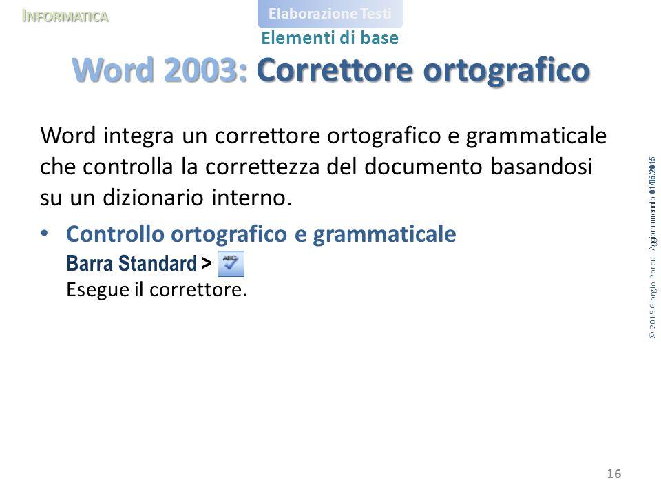 © 2015 Giorgio Porcu - Aggiornamennto 01/05/2015 I NFORMATICA Elaborazione Testi Elementi di base Word integra un correttore ortografico e grammaticale che controlla la correttezza del documento basandosi su un dizionario interno.