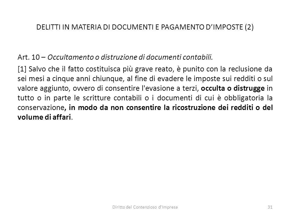 DELITTI IN MATERIA DI DOCUMENTI E PAGAMENTO D'IMPOSTE (2) Art.