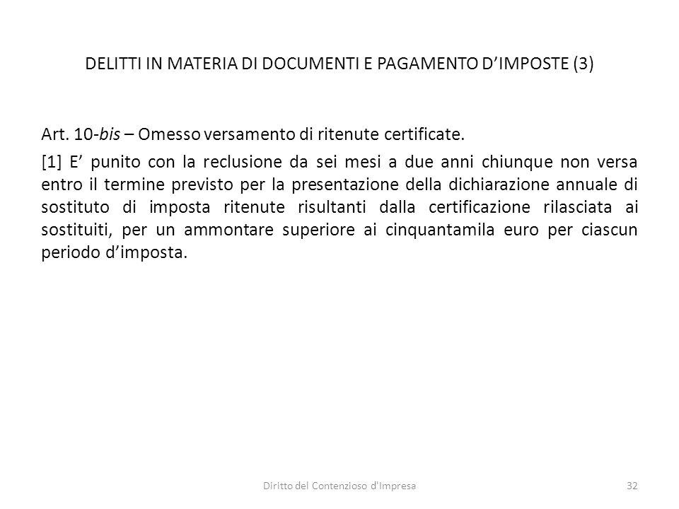 DELITTI IN MATERIA DI DOCUMENTI E PAGAMENTO D'IMPOSTE (3) Art.