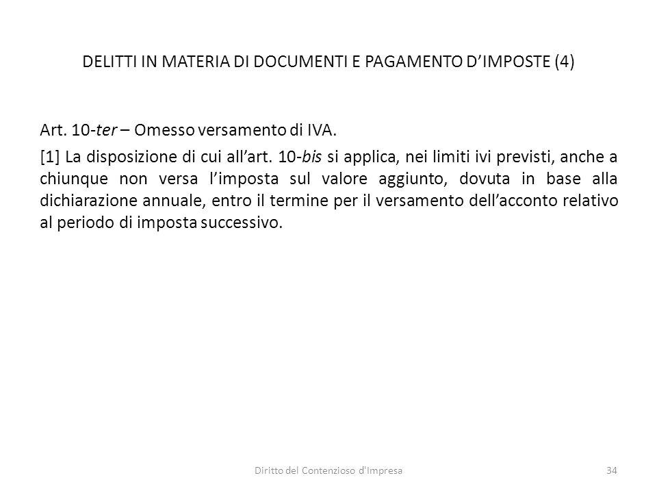 DELITTI IN MATERIA DI DOCUMENTI E PAGAMENTO D'IMPOSTE (4) Art.