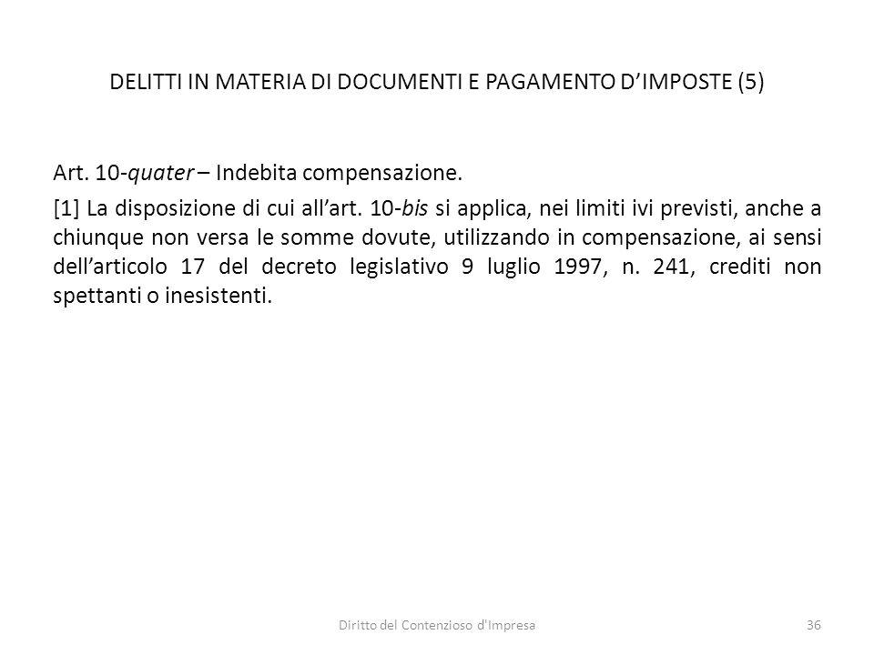 DELITTI IN MATERIA DI DOCUMENTI E PAGAMENTO D'IMPOSTE (5) Art.