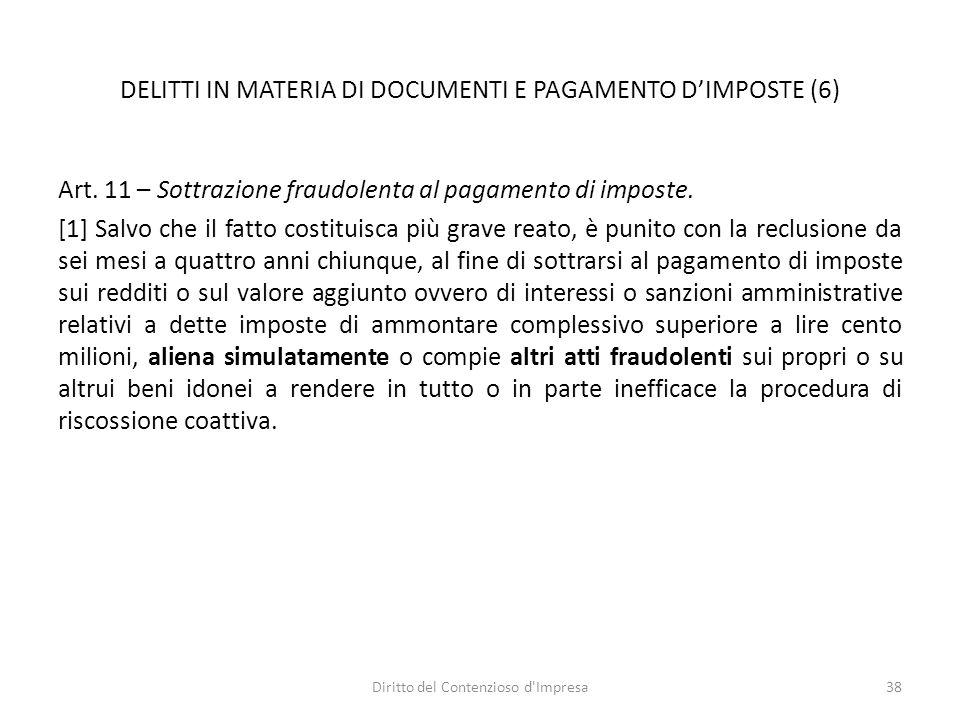 DELITTI IN MATERIA DI DOCUMENTI E PAGAMENTO D'IMPOSTE (6) Art.
