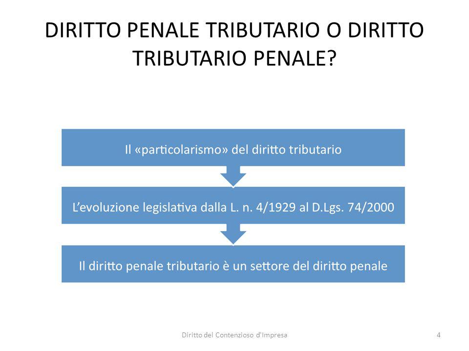 DIRITTO PENALE TRIBUTARIO O DIRITTO TRIBUTARIO PENALE 4Diritto del Contenzioso d Impresa