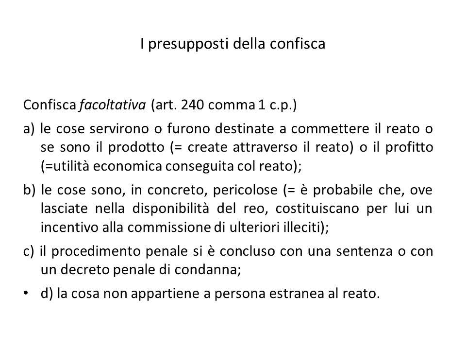 I presupposti della confisca Confisca facoltativa (art.