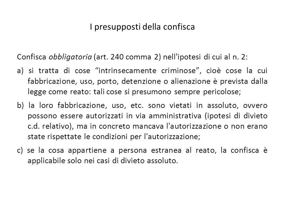 I presupposti della confisca Confisca obbligatoria (art.
