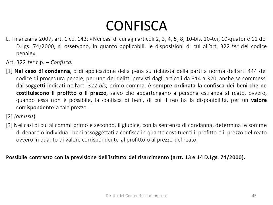 CONFISCA L. Finanziaria 2007, art. 1 co.