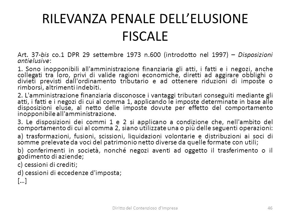 RILEVANZA PENALE DELL'ELUSIONE FISCALE Art.