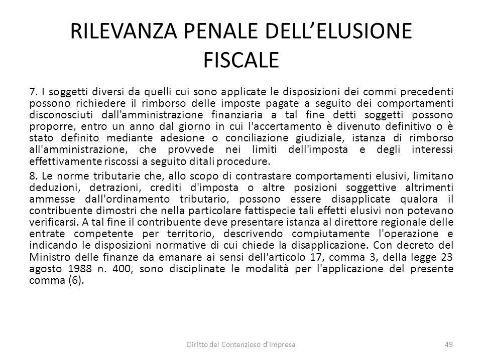 RILEVANZA PENALE DELL'ELUSIONE FISCALE 7.