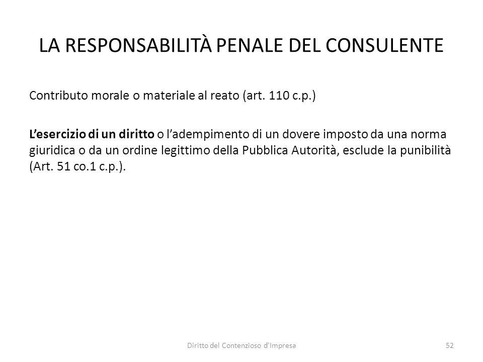 LA RESPONSABILITÀ PENALE DEL CONSULENTE Contributo morale o materiale al reato (art.