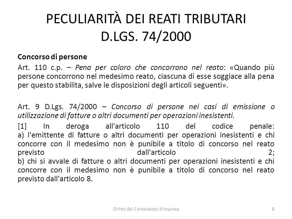 PECULIARITÀ DEI REATI TRIBUTARI D.LGS. 74/2000 Concorso di persone Art.