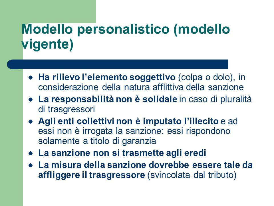 Modello personalistico (modello vigente) Ha rilievo l'elemento soggettivo (colpa o dolo), in considerazione della natura afflittiva della sanzione La