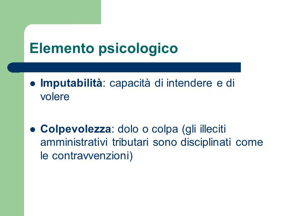 Elemento psicologico Imputabilità: capacità di intendere e di volere Colpevolezza: dolo o colpa (gli illeciti amministrativi tributari sono disciplina