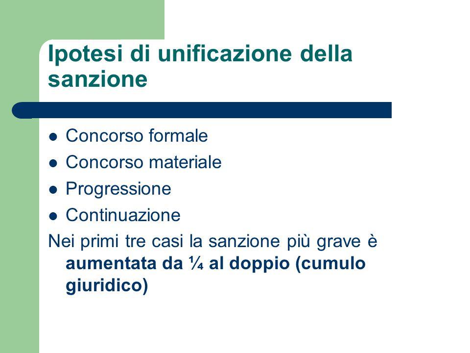Ipotesi di unificazione della sanzione Concorso formale Concorso materiale Progressione Continuazione Nei primi tre casi la sanzione più grave è aumen